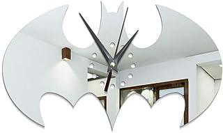 WHSS Horloge murale Batman créative en acrylique pour décoration de la maison - 21 x 35 cm - Argentée