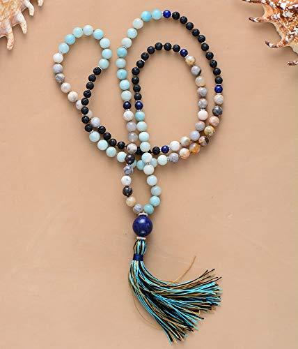 DADATU 108 Perlas Collar 8Mm Piedra Natural con Encanto Anti