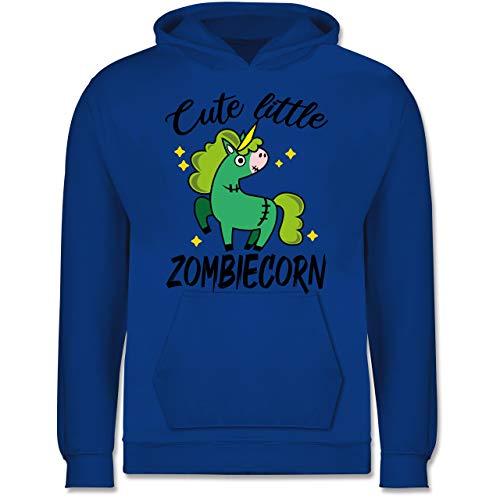 Shirtracer Halloween Kind - Cute Little Zombiecorn - schwarz - 128 (7/8 Jahre) - Royalblau - Geschenk - JH001K - Kinder Hoodie