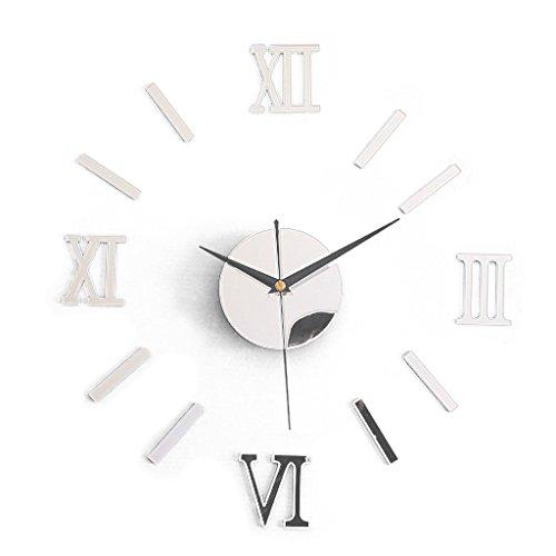 TOOGOO(R) Pegatinas de relojs de Pared Pegatinas de relojs Grandes de Pared Pegatinas de Taza Decoracion Moderna de Cocina de casa ¨C Plata