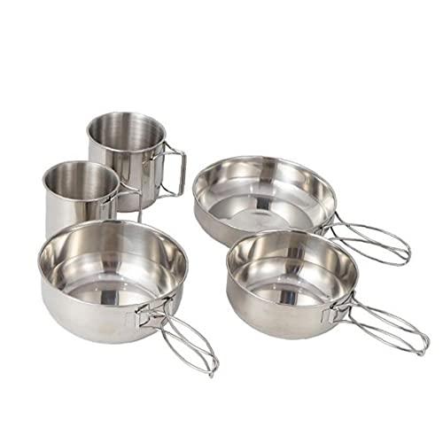 Conjunto de utensilios de cocina para acampar Portátil de acero inoxidable Carne de cocinero con cuenco de copa de copa Camping conjunto Accesorios de campamento Cocinar utensilios de cocina Kit
