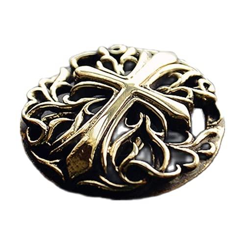 Tang Grass Cross - Botón de metal retro de latón antiguo para pantalones vaqueros de cobre, chaqueta con...
