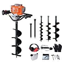 "PROYAMA 51.7CC 2 Stroke Gas Post Hole Digger Earth Auger, Ground Drill with 3 bits (4"", 6"" and 8"") + Extention EPA"