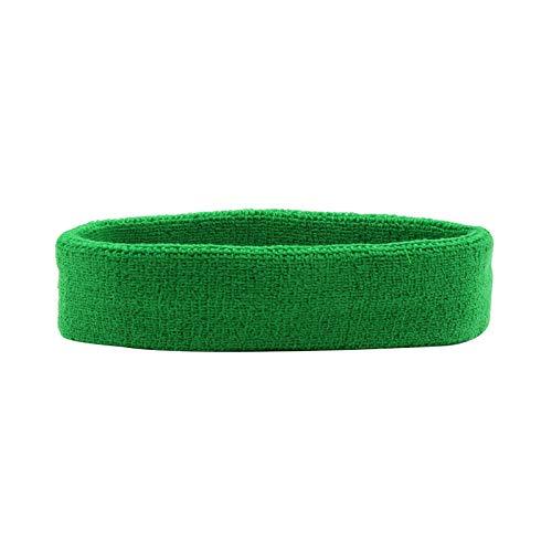 HANERDUN - Banda para el sudor de la frente, algodón rizado, para hacer deporte, unisex, verde, Talla única