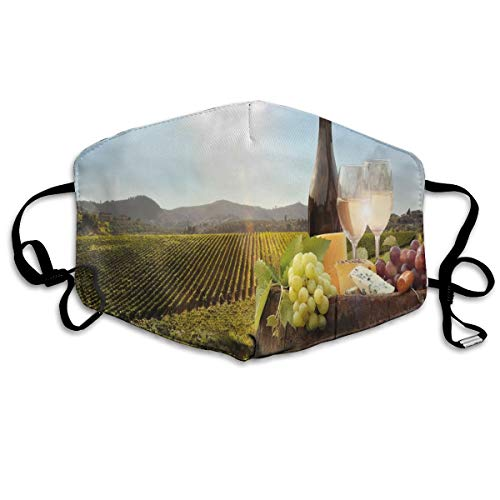 Witte wijn met Barrel On Famous Vineyard in Chianti Tuscany Agriculture Printing Mouth Cover voor volwassenen