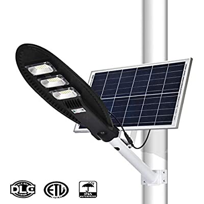 150W Solar Street Lights Outdoor Lamp?126 Led 8000 Lumen with Remote Control?Light Control, Human Body Induction, Dusk to Dawn Security Led Flood Light for Yard, Garden, Street, Basketball Court