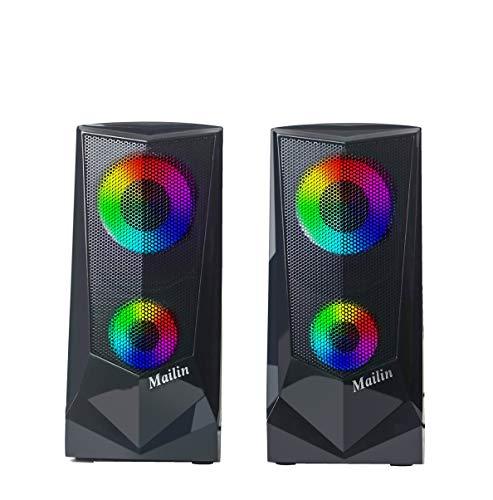Computer Speakers Gaming RGB-Illuminated 2.0 Speaker PC Speakers for PC...