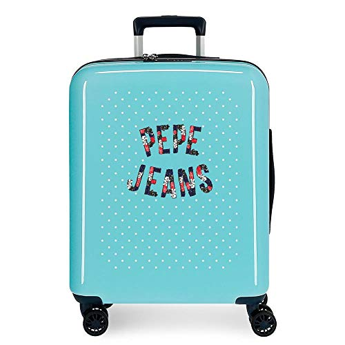 Pepe Jeans Emory Blue Cabin Suitcase 40 x 55 x 20 cm Rigid ABS Combination Lock 37 Litre 2.6 kg 4 Double Wheels Hand Luggage