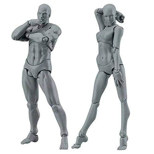 Sobeta Dessin de Figures pour Artistes Figurine modèle Mannequin Humain kit Homme/Femme, pour Dessin, Croquis, Peinture, Artiste, Figurines de Dessin animé Action (Couleur de Peau, Femme + Homme)