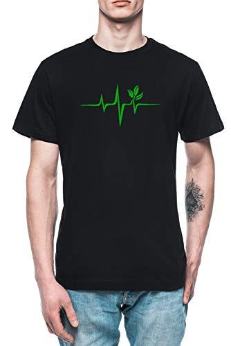 Latido del Corazón, Pulso Verde, Vegano, Frecuencia, Ola, Tierra, Planeta Hombre Camiseta tee Negro Men