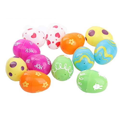 JINQIANSHANGMAO Easter 12pc Fillable Plastic Easter Eggs Hunt Party Supply Pack Assorted Pattern Prints Boy Girl Toy Children's Toys Birthday Gifts (Color : A)
