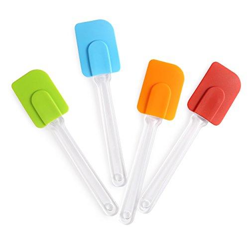 Harima - Set di 4 spatole in gomma di silicone, con cucchiaio girevole, flessibili, resistenti al calore, antiaderenti, da usare come utensili in cucina