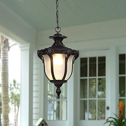 SYYS Lámpara al Aire Libre Vintage Colgante lámpara Colgante, lámpara Colgante rústica E27, diseño Impermeable al Aire Libre IP44 Hecho de Aluminio Fundido, Sombra de Vidrio, Altura Ajustable