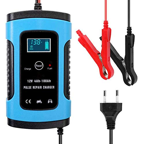 Cargador de batería para automóvil, Cargador de batería automático de 12 V con Carga de 3 etapas, Cargador de Refuerzo de Banco de energía de Arranque automático portátil, Azul