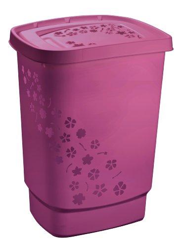 Rotho Flowers Wäschesammler 55 l, Kunststoff (PP), pink , 55 Liter (44,7 x 34,7 x 60,5 cm)
