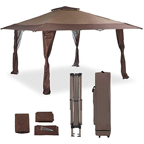 PHIVILLA 13' x 13' Outdoor Canopy Patio Gazebo Canopy Tent Pop-up with Elegant Corner Curtain for Backyard, Party, Family Outings, 169 Sq. Ft of Shade, Brown