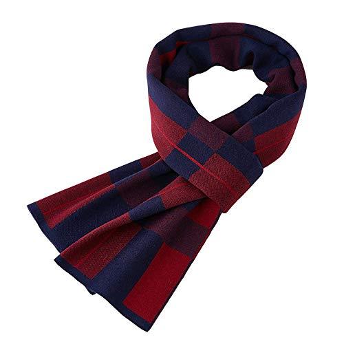 Gcgg Bufanda De Otoño E Invierno para Hombres Bufanda De Punto Cálido Bufanda Larga De Cachemir Suave para Hombres Bufanda Elegante para Hombres De Negocios(Color:Azul Marino + Rojo Vino)