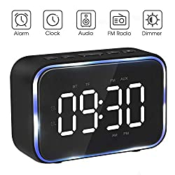 Goojodoq Digital Alarm Clock Radio with FM Radio, Bluetooth Speakers with Headphone Jack, Dual Alarms, 5 Level Brightness Dimmer, Adjustable Alarm Volume, Alarm Clock Lager Time Display for Bedroom