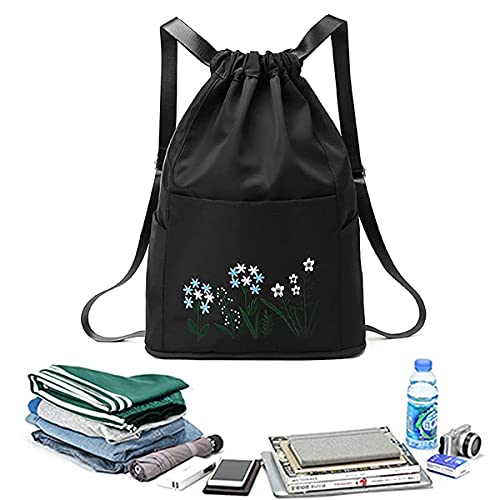 JHYQ Multifunctional Fitness Travel Bag,Exquisite Embroidery Wet and Dry Separation Bag,Beam Mouth Backpack,Waterproof Oxford Fabric Duffel Bag. (Black)