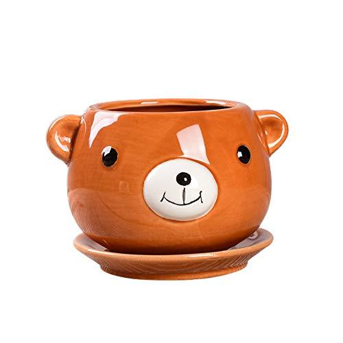 VKTY Maceta de cerámica para suculentas de animales con diseño de oso de pato, panda para oficina, cocina, decoración del hogar