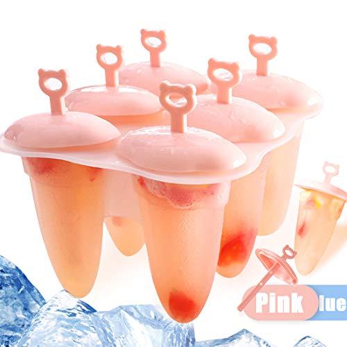 Eisformen Neuste, 6 Eisformen Popsicle Formen Set, Eisform Silikon, EIS Silikonform am Stiel Bereiter, Förmchen zum Einfrieren von Obst oder Joghurt, BPA frei, Spülmaschinenfest (Rosa)