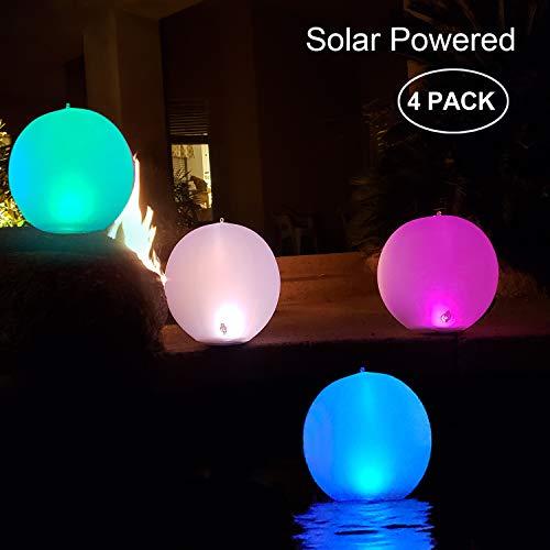 Solarlampen für außen,14'' LED Solar Gartenleuchte Kugel Schwimmkugel Wasserdichte IP68 LED Solarlichter Aufblasbare Solar Glow Globe Kugel Solarlampe/Außenleuchte/Gartenlampe/Kugelleuchte (4PACK)