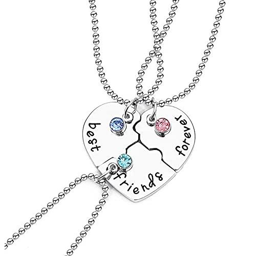 WEIYIing Collar Colgante de corazón Roto de Moda para Separar el Collar de la Amistad del Collar de la Amistad Rompecabezas Gargantilla Regalo 2021 Nuevo