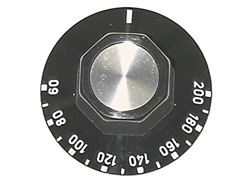 Knop voor Thermostaat ego 524.806 max temp. 200°C ø 50mm met Bovenste as zwart en draaihoek 270°