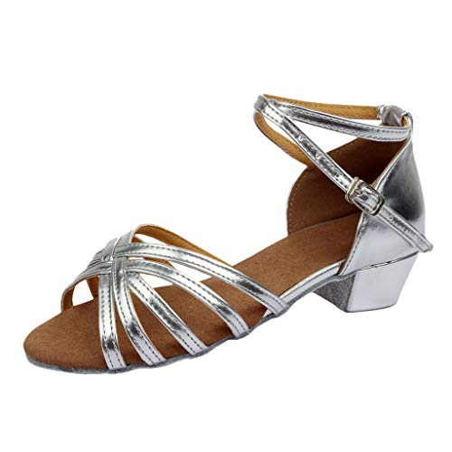 Manadlian Femmes Sandales de Danse Chaussures Rumba Valse Sandales de Plates Bal Salon Latine Chausson à Talons Plats Salsa Danse Chaussures Sandales