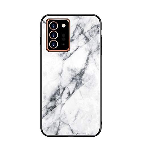 MadBee für Samsung Galaxy Note 20 Plus Hülle [mit HD-Schutzfolie], Marmor Kratzfeste 9H Glas Back & TPU Silikon Rahmen und weichem Bumper Stoßabsorbierende Schutzhülle (Marmor 1)