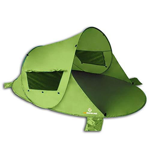 outdoorer Pop up Strandmuschel Zack Premium grün - Wurfmuschel, UV Schutz 80, Strandzelt, Windschutz und Sonnenschutz am Strand