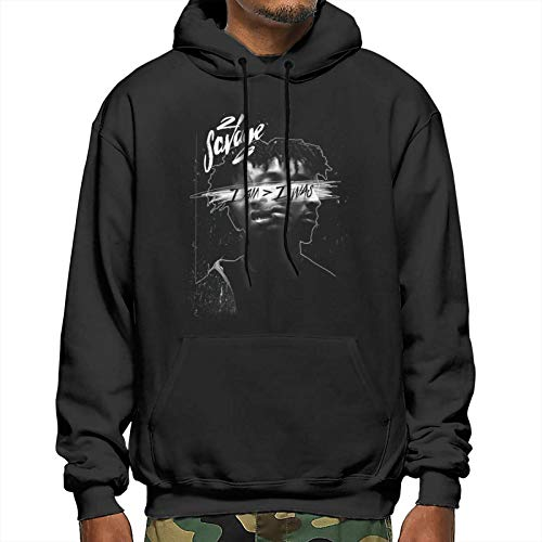 Adults Men Fall Long Sleeve Fitted Hooded Sweatshirt for School Holiday Party 21-Savage Box Logo 3D Print Pretty Graphic Pullover Hoodie Top - Medium Black