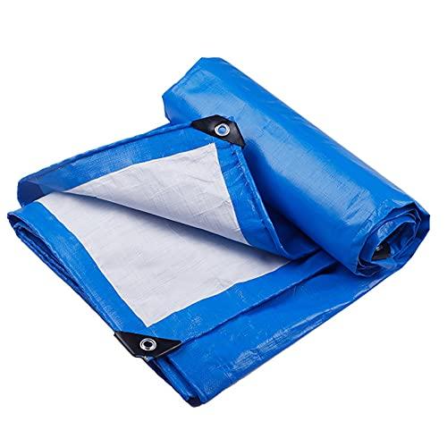 YIYISHOP Foglio tessuto blu impermeabile impermeabile telo tappeto telo resistente con occhielli rinforzati Tarps multiuso resistente allo strappo per campeggio all'aperto Cover per mobili a terra