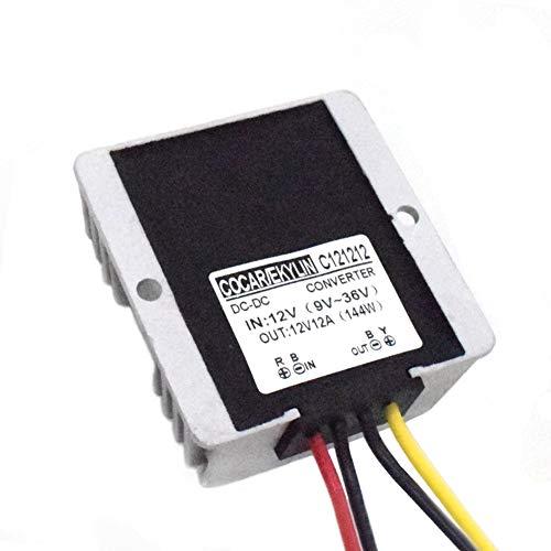 Regulador de Voltaje, Coche 12V CC Estabilizador Voltaje Surge Protector 12A 144W, Regulador para Vehículo Camión Batería Barco Motor Sistema Solar Protección (Entrada CC 10-36V, Salida CC 12V)