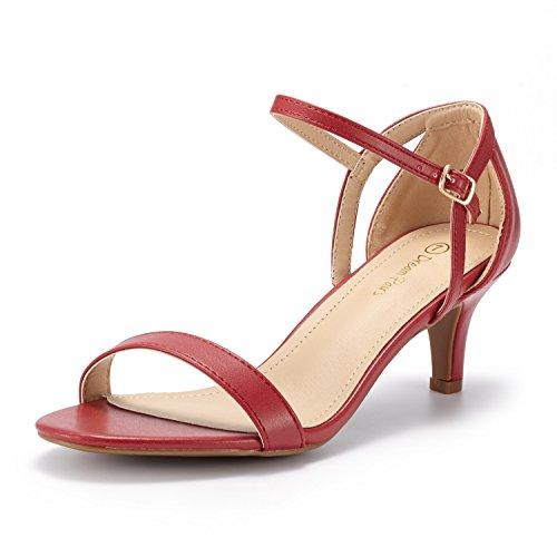 DREAM PAIRS LEXII Sandalias de Tacón Puntera Abierta Aguja Moda para Mujer Rojo PU 39.5 EU/8.5 US