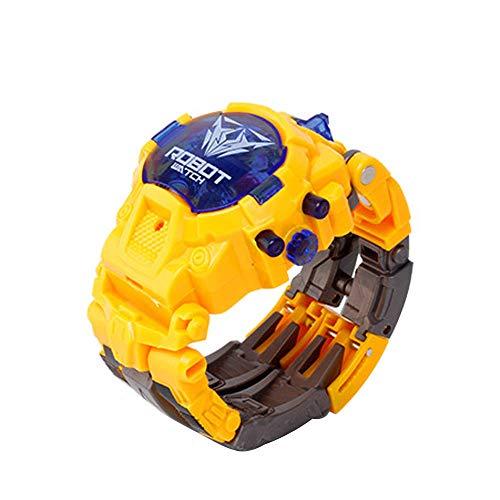 QINPIN Manueller Transformations-Roboter elektronische Uhr verformtes Roboter-Kinderspielzeug Gelb