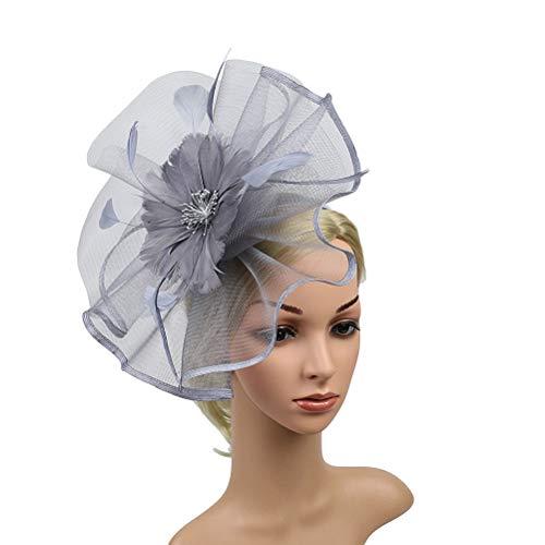 Lurrose Sombrero de fascinador de la boda sombrero de malla tocado cóctel...