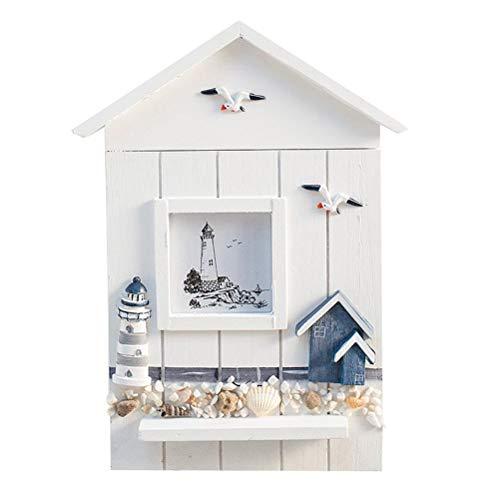 CLFYOU Caja de madera maciza para llaves – 6 ganchos creativos para llaves de pared, práctica caja de almacenamiento para llaves para decorar paredes
