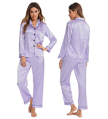 SWOMOG Womens Silk Satin Pajamas Set Button Down Sleepwear Loungewear Lavender
