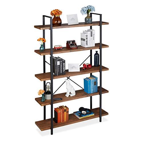 Relaxdays Bücherregal mit 5 Ebenen, Industrial Design, HBT: 178 x 120 x 33,5 cm, MDF & Metall, Raumteiler Regal, braun