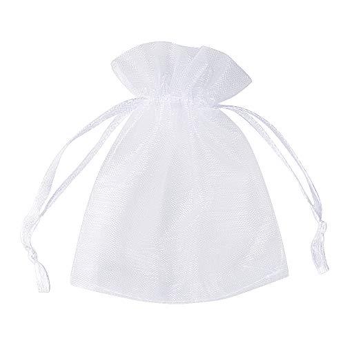 FLOFIA 100 Bolsas Bolsitas de Organza de Boda 7x9cm Blanco Pequeñas Bolsas Regalo Organza Tul para Joyas Joyería Arroz Recuerdo Favores Detalles de Boda Caramelo Dulces, Blanco