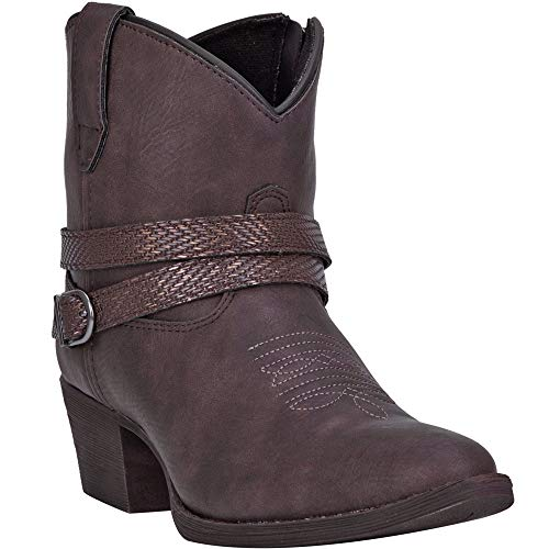 """Dingo Womens Aydra Embroidery Round Toe Western Cowboy Boots Ankle Low Heel 1-2"""" - Brown - Size 10 B"""