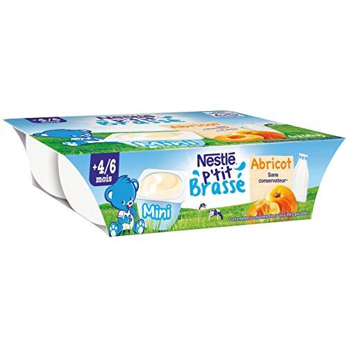Nestlé Bébé Ptit Brassé mini abricot - Laitage dès 4/6 mois - 6x60g
