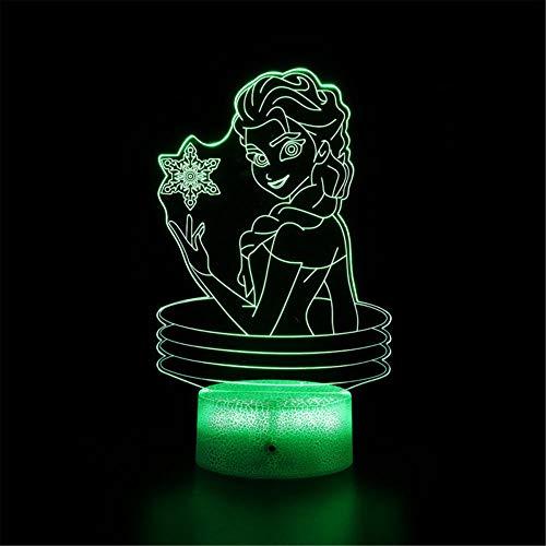 Frozen B 3D luz nocturna para niños, lámpara de noche 3D, interruptor táctil de 16 colores cambian, regalo perfecto fiesta de cumpleaños Navidad para bebés adolescentes amigos