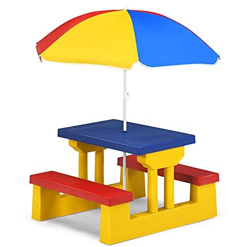 COSTWAY Conjunto de Mueble de Jardín para Niños Plegable Mesa y Banco de Picnic con Parasol para Infantil Juguete (Amarillo y Azul)