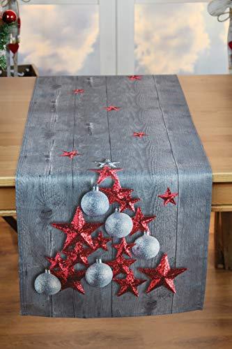 Kamaca Tischläufer RED Stars hochwertiges Druck-Motiv mit weihnachtlichen Motiven mit Lotus Effekt FLECKSCHUTZ EIN Schmuckstück zu Winter Weihnachten (RED Stars, Tischläufer 40x140 cm)