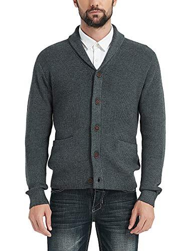 Kallspin Men's Merino Wool Blended Shawl Collar Cardigan Sweater Button Down Knitwear with Pockets (Dark Grey, XXX-Large)