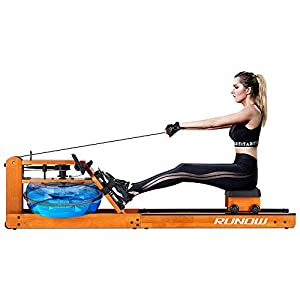 RUNOW Rowing Machine for Home Use, Water Resistance Wood Rower with LCD Monitor, Gyms Training Indoor Fitness Exercise…