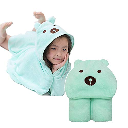After Bath Kids Hooded Towel for Toddler, Fluffy Baby Towel Wrap with Cute Animal Face Hood (Bear)