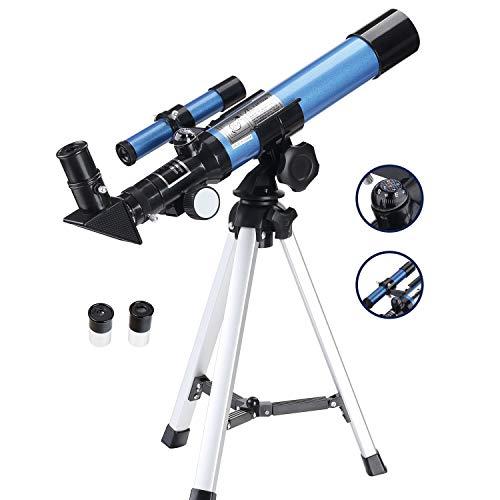 Aomekie Refraktor Teleskop Kinder Einsteiger 40/400 Astronomisches Teleskop Fernrohr Teleskop mit Aluminium Stativ und Sucherfernrohr für Himmelsbeobachtung und Landschaftsbeobachtung